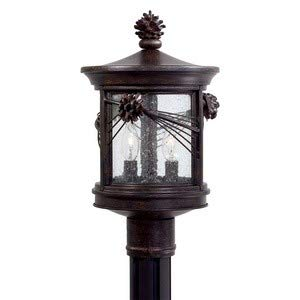 Minka Great Outdoors 9156-A357 Abbey Lane - Two Light Outdoor Post Mount, Iron Oxide Finish with Seedy Glass
