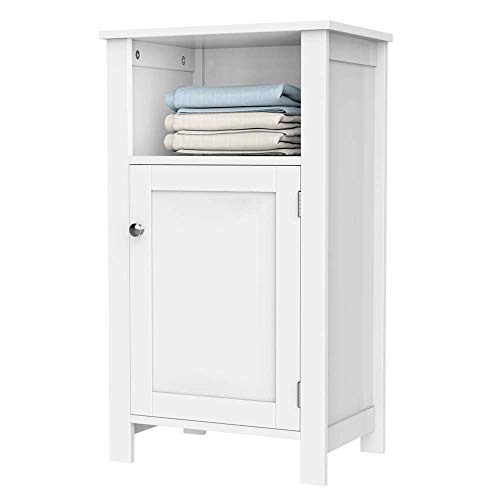Yaheetech Bathroom Floor Storage Cabinet with Single Door and Adjustable Shelf White Finish Wood
