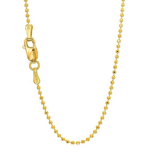 "14K Yellow Or White Gold 1.2mm Shiny Diamond Cut Bead Chain Necklace for Pendants and Charms with Lobster-Claw Clasp (16"" 18"" or 20 inch)"