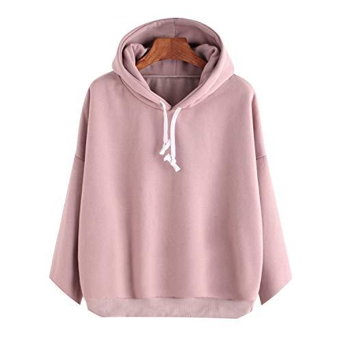Sweatshirts Women Pink Long Sleeve Hoodie Pullovers Basic Hoodies Plain Tops Moletom,Pink,XL, ()
