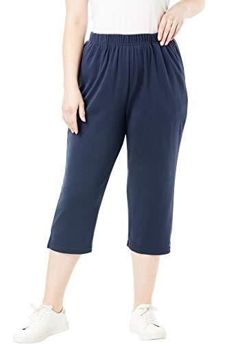 Roamans Women's Plus Size Soft Knit Capri Pant - Navy, 3X