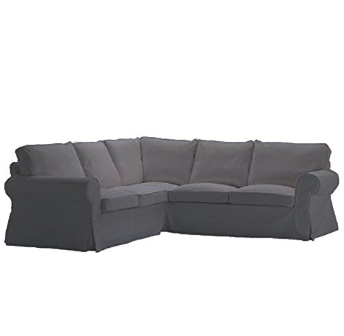 Review Replace Cover for IKEA Ektorp 2+2 Corner Sofa, 100% Cotton Sofa Cover for Ektorp Sectional Sofa (Gray)