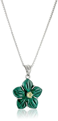 Sterling Silver Malachite and Peridot Flower Pendant Necklace, 18""