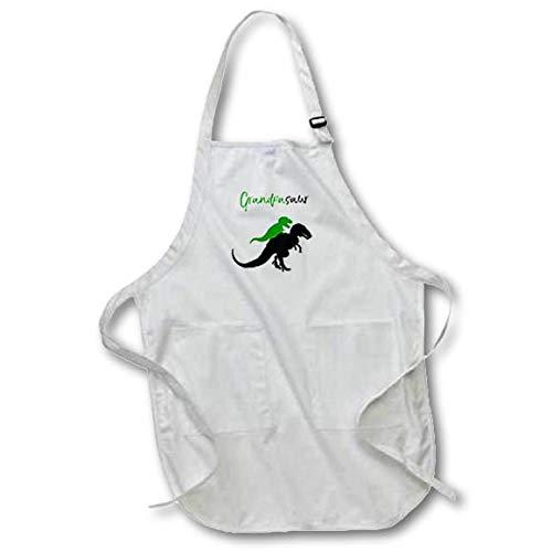 3dRose InspirationzStore - Dinosaur Designs - Grandpasaur Green and Black Cute Grandpa Dinosaur T-Rex Grandchild - Full Length Apron with Pockets 22w x 30l (apr_316867_1)