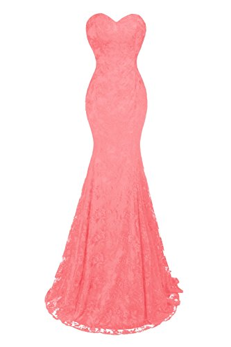 Mermaid Evening Lace Lace Women's Dresses Watermelon Sexy up Bess Prom Party Bridal fqUI7H78