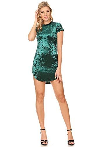 Vibe Sportswear Velvet Curved Hem T Shirt Dress (Hunter, X-Large) ()