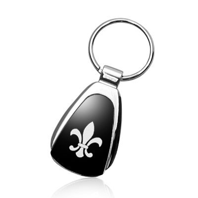 Au-Tomotive Gold, INC. Fleur-De-Lis Black Tear Drop Metal Key (Fleur De Lis Key Ring)