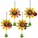 Colorful Iron Sunflower 14 1/2 In. Hanging Wind Chimes Perfect for Gardens, Porches, Patios, Gazebos, and More.. (Set of 4)