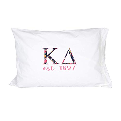 Desert Cactus Kappa Delta Sorority Floral Letters with Founding Year Pillowcase 300 Thread Count 100% Cotton KD