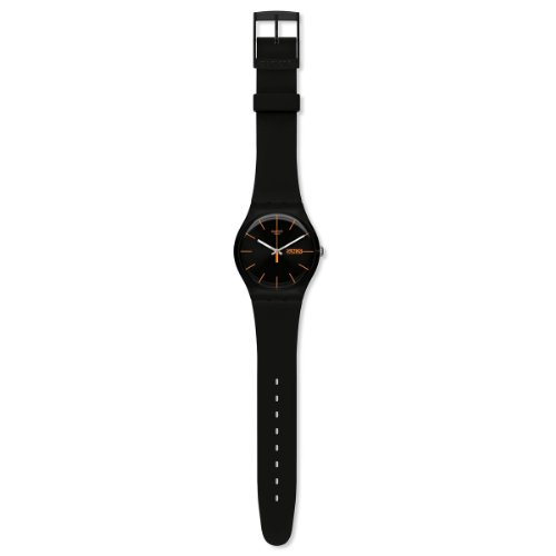 Swatch SUOB704 dark rebel black silicone strap black dial unisex watch NEW