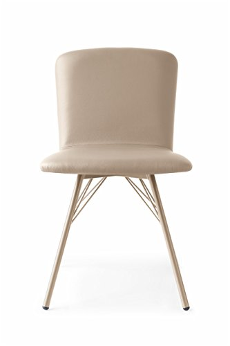 Connubia Emma Upholstered Chair with Metal Stained Matt Nougat Frame & Skuba Nougat - Metal Calligaris Chair