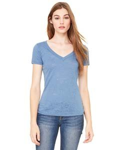 (Bella 8605 Womens Burnout Short Sleeve V-Neck Tee - Steel Blue, 2XL)