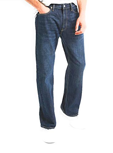 GAP Men's Relaxed Fit Jeans, Medium Indigo Wash, Non-Stretch -