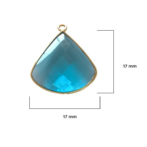 London Topaz - Semi Precious Stones - Semi Precious Beads – Bezel Gemstone Pendants - BESTINBEADS – London Topaz Birthstone - London Topaz Diamond - Blue Topaz Quarter Circle 17MM Gold Single - Topaz Circle Pendant