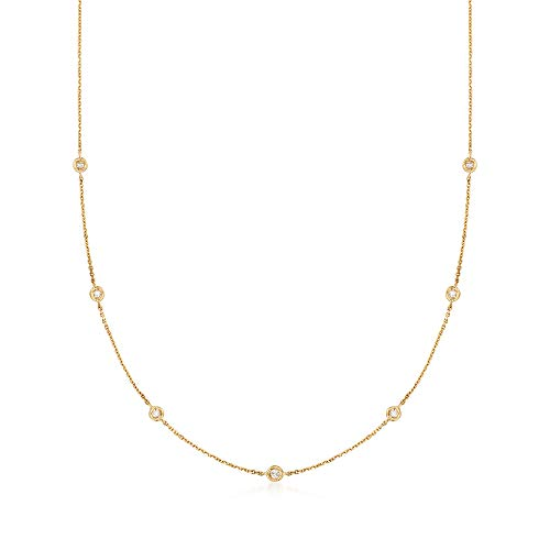 Ross-Simons 0.20-0.40 ct. t.w. Diamond Station Necklace in 14kt Yellow Gold ()