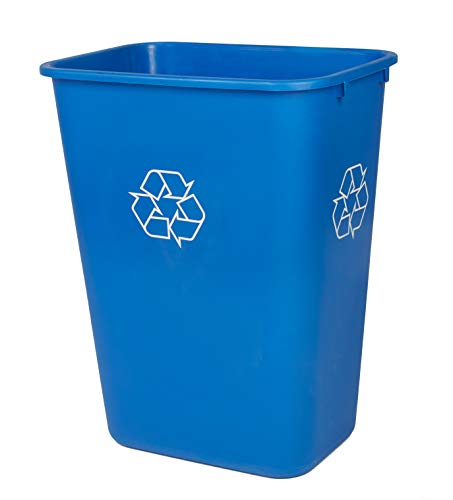 Mountain Tech Eco Solutions 41 Quart Blue Plastic Indoor Recycling Trash Can with New Designed Recycle Symbols On All 4 Sides for Easy Viewing (Can Plastic Garbage 41 Qt)