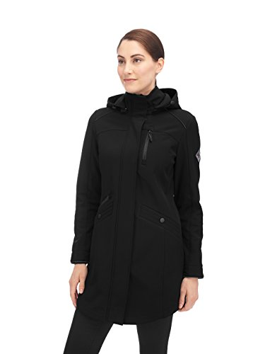 (Alpine North Women's Softshell Long Coat, Black, Small)