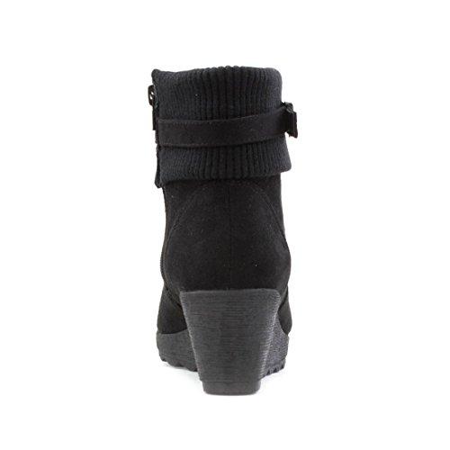 Lilley - Bota al tobillo, taco cuña, para mujer, en negro Lilley Negro