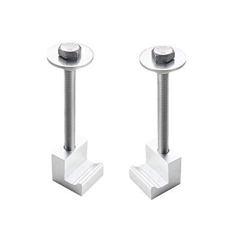 DEWHEL Easy Mount Tool Box Tie Downs Aluminum Universal No Drill J Hook Crossover Toolbox Pickup Pair 2 PCS Silver