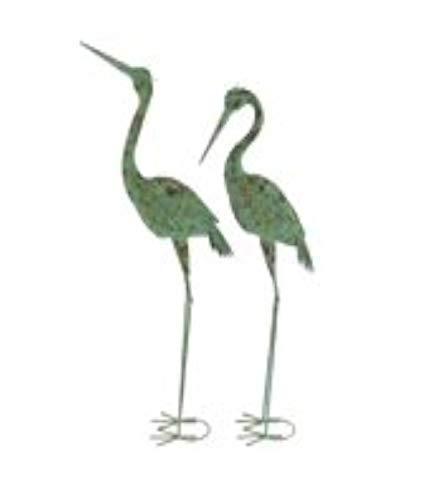 (Pair of Rustic Iron Standing Garden Crane Sculptures viridian Green art crafted)