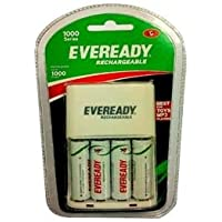 Eveready BP4C AA 1000 NIMH Charger and 4 Rechargeable Battery (White)
