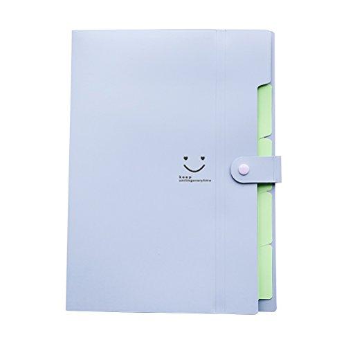 NUOLUX Plastic Letter File Folders A4 Paper Document Organizer Large Capacity Snap Closure Accordion Folder,5 Pockets (Light Purple) ()
