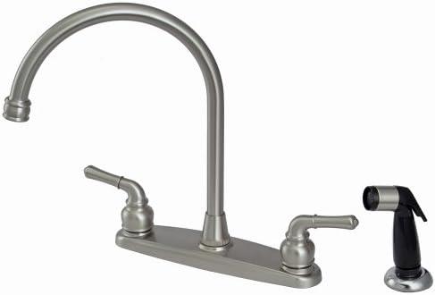 Plumb USA – 8 Kitchen Deck Faucet, Satin Nickel Finish, Washerless