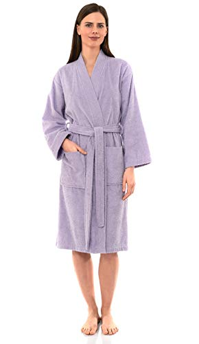 TowelSelections Women's Robe Turkish Cotton Terry Kimono Bathrobe Large/X-Large Orchid Petal