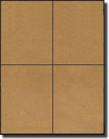 400 Label Outfitters Brown Kraft Quarter Sheet Labels, 4-1/4