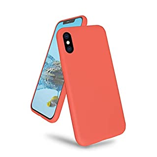 "K TOMOTO Phone Case for iPhone X/XS, Ultra Slim Full Body Liquid Silicone Gel Rubber Shockproof Protective Case with Soft Microfiber Cloth Lining Cover for iPhone X/XS 5.8"", Nectarine"