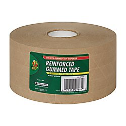 Duck Brand HD Reinforced Gummed Kraft Paper Tape, 2.75 Inches x 375 Feet - Reinforced Tape Sealing Kraft