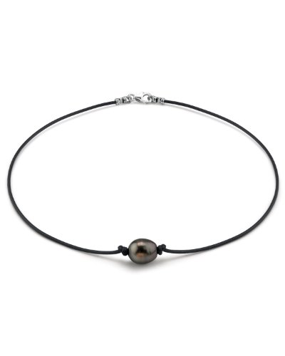 (THE PEARL SOURCE Sterling Silver 11-12mm Baroque Genuine Black Tahitian South Sea Cultured Pearl Necklace in 17