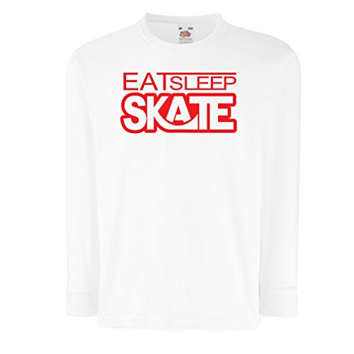 (T-Shirt for Kids Eat Sleep Skate - for Skaters, Skate Longboard, Skateboard Gifts (7-8 Years White Red))