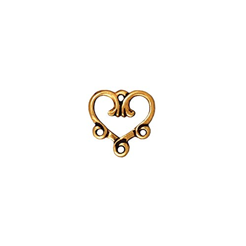 (TierraCast Link Vine Heart, 3 to 113mm, Antiqued 22K Gold Plated Pewter,)
