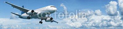 Canvas 170 x 40 cm Canvas image 170 x 40 cm   Jet plane in flight , image on a Canvas