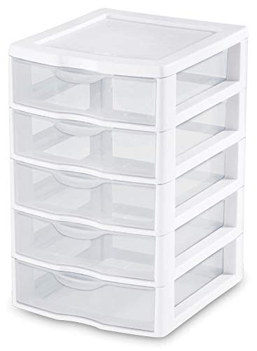 (STERILITE 1 New 20758004 Clearview Small 5 Drawer Desktop Storage Unit White)