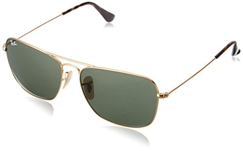 Ray-Ban RB3136 Caravan Square Sunglasses, Gold/Green, 58 mm (Ray Ban Square)