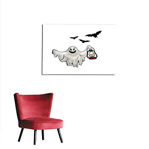 (homehot Art Stickers Halloween Ghost with Lantern and Bats Hand Drawn Watercolor Illustration Isolated on White Background Mural)
