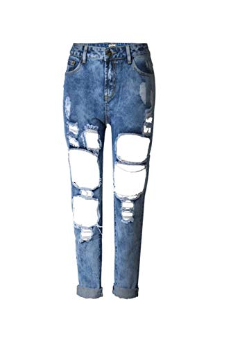 Color Cut Azul Con Button Bolsillos Jeans Al Ripped Sólido Hole Ropa Libre Casual Pantalones Fit Stretch Mujeres Aire Slim 4SXqAw