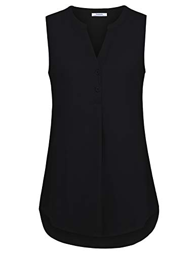 Youtalia Women Tops and Blouses for Work, Juniors Sleeveless Tunic Tank Tops Henley V Neck Flared Hem A Line Loose Fit Business Casual Tops Black Medium