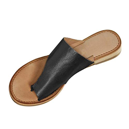 Women's Flat Beach Sandals and Slippers Fashion Casual Solid Color Large Size Toe Roman Slippers MEEYA - Hearthside Womens Slippers