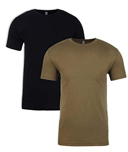 Next Level Mens Premium Fitted Short-Sleeve Crew T-Shirt - Black + Military Green (2 Pack) - - Crew Black Sleeve Short Apparel