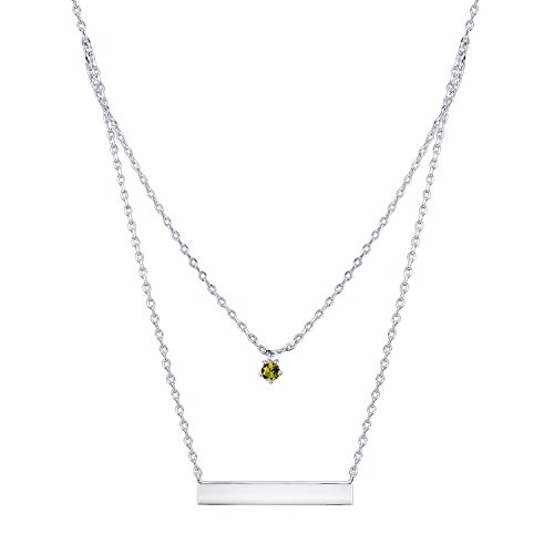 PAVOI 14K Gold Plated Swarovski Crystal Birthstone Bar Necklace Pendant Engraveable August