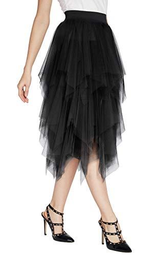 Women's Elegant Mesh Layered Tulle Skirt Sheer Tutu Skirt Midi Dress (L, ()