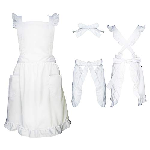 (Premium Victorian Maid Costume with Ruffle Outline, Two Kinds Adjustable Straps Method,Frilly Bib Apron With Two Pockets For Women Cosplay Character Day,Alice In Wonderland,One Size Fits)