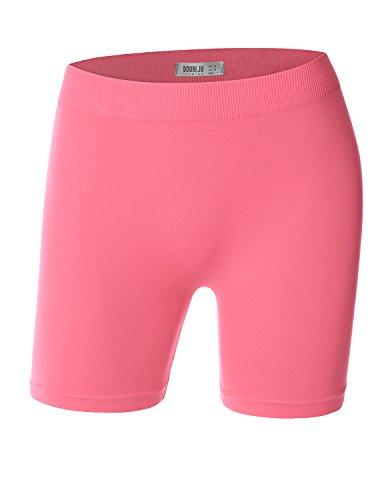 Doublju Womens Cotton Soft Fabric Running Classic Coral Short Pants,Medium,M