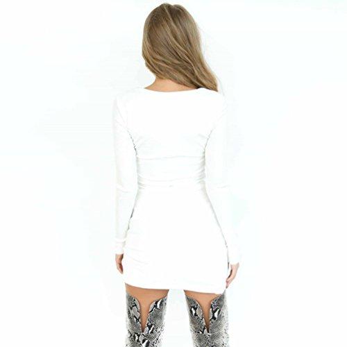 tunica Bandage Vestiti Hollow a lunga LvRao Vestito Abito Manica Party pieghe Donna Mini a Sexy Bianca 1Ex5qP
