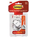 3M Command 17067MPES General Purpose Hooks, Small, 0.5lb Cap, White, 28 Hooks & 32 Strips/Pack