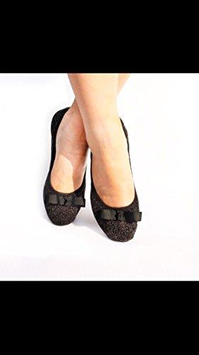 Ballet Couleurs Heureux Différentes Replient Disponibles Et Pompes Arc Chaussures Noir Se Tailles Pieds Pliable De Dames XndxB7qFX