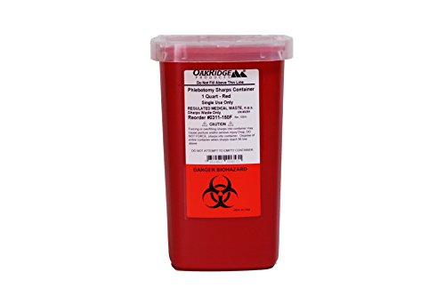 1 Quart size   Oakridge Products Sharps and Needle Container   Perfect for personal or professional use.   Integrated needle unwinder   FDA approved   Used by HOSPITALS   Diabetic pet needles   8900sa